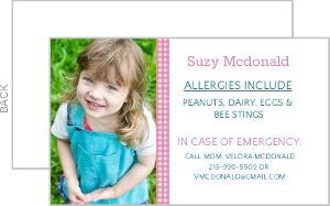 Gingham Allergy Card
