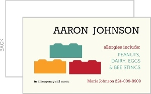Lego Allergy Card