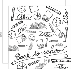 Black And White Sketch Back To School Party Invitations