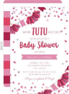 Tutu Confetti Banner Baby Shower Invitation