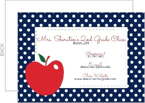 Apple And Navy Polka Dots Classroom Information Card