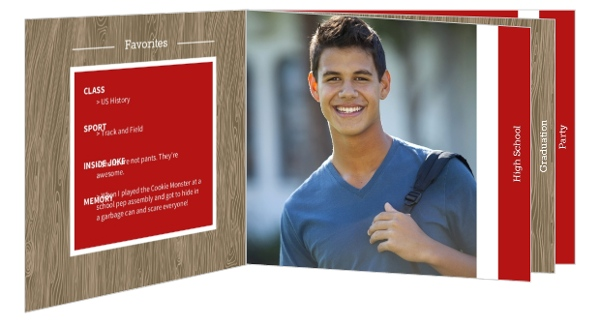 Red and Wood Grain Graduation Invitation