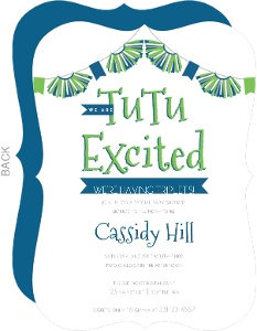 Tu Tu Excited Triplets Baby Shower Invitation