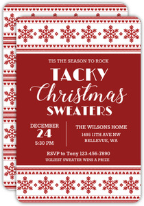 Rock Tacky Sweaters Ugly Sweater Party Invitation