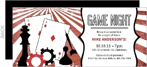 Vintage Red And Black Game Pieces Game Night Invitation
