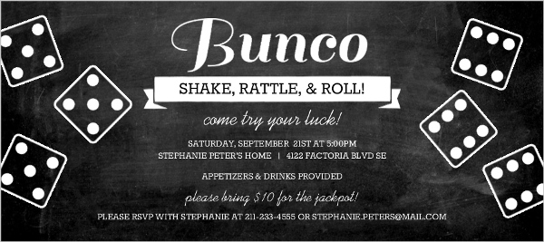 Chalkboard Bunco Game Night Invitation Game Night Invitations