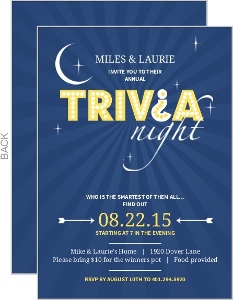Navy Skyline Trivia Question Mark Game Night Invitation