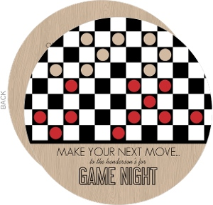Checkers Board Game Night Invitation