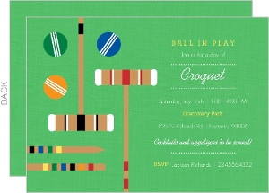 Green Croquet Set Game Day Invitation