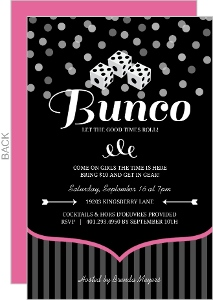 Pink And Black Dice Bunco Game Night Invitation
