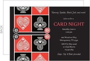 Hearts And Spades Card Night Invitation