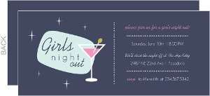 Retro Pink Martini Girls Night Out Invitation