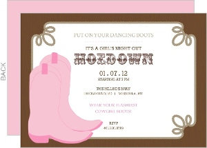Rustic Country Boots Hoedown Girls Night Out Invitation