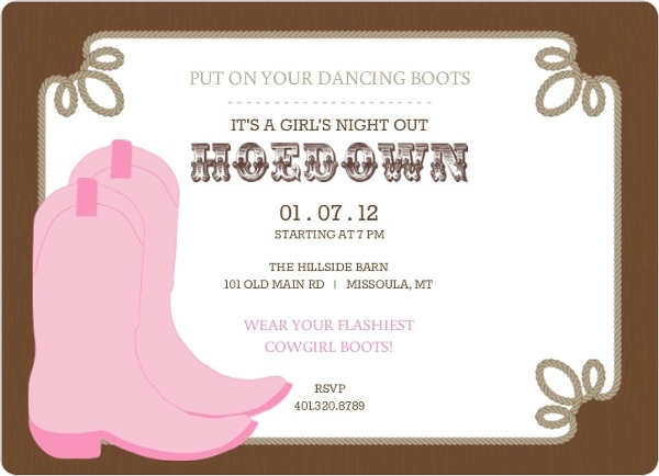 rustic country boots hoedown girls night out invit_7937_1_large_rounded rustic country boots hoedown girls night out invitation girls,Hoedown Party Invitations