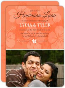 Tangerine Floral Hawaiian Luau Party Invite - 7940