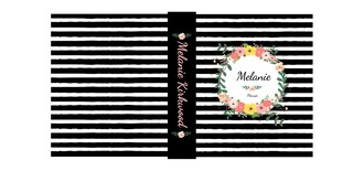 Black and White Stripes Floral 3 Ring Binder Monthly Planner