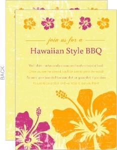 Pink And Orange Flowers Hawaiian Bbq Invitation