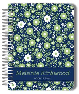 Navy Green Floral Photo Monthly Planner