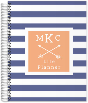 Modern Stripes Monogram Custom Monthly Life Planner