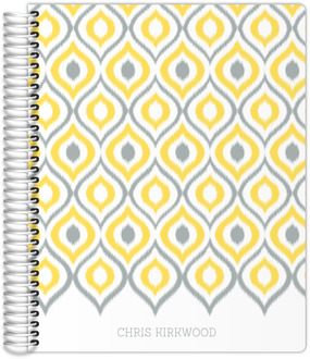Yellow and Gray Ikat Monthly Planner