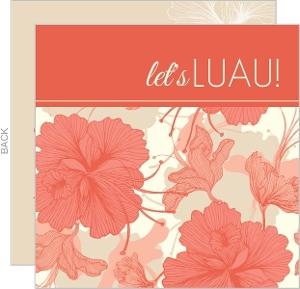 Coral Floral Hawaiian Luau Invitation