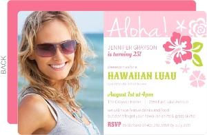 Pink Hawaiian Luau Birthday Invitation