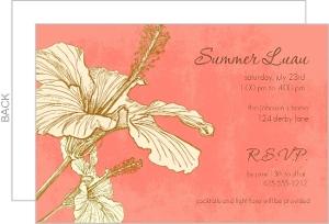 Pink Sophisticated Hibiscus Luau Invitation