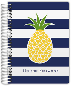 Pineapple Navy Stripe Custom Monthly Planner