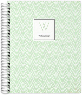 Mint Green Art Deco Pattern Monthly Planner