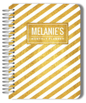 Stunning Faux Gold Stripes Monthly Planner
