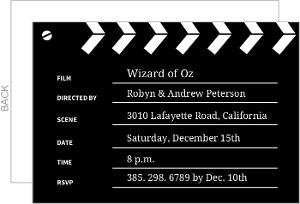 black and white clapper board movie night invitations movie night invitations. Black Bedroom Furniture Sets. Home Design Ideas