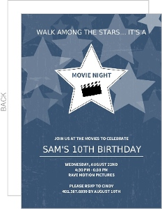 Navy And White Transparent Stars Movie Night Invitation