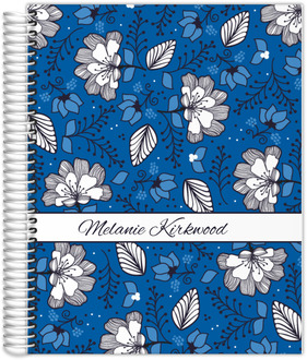 Blue & White Floral Pattern Monthly Planner