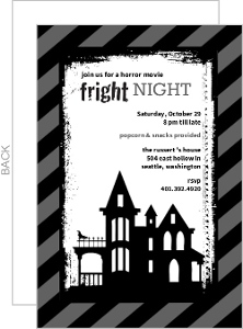 Spooky Black And Gray Horror Movie Party Invitation