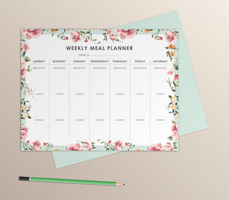 Floral Border Weekly Meal Planner Paper Pack