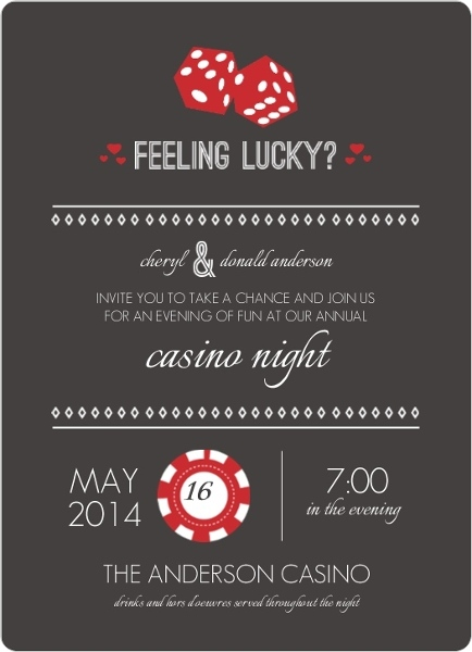 red and gray feeling lucky dice poker night invitation