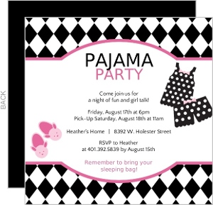 Slumber Party Invitations & Pajama Party Invitations
