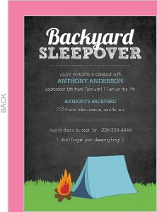 Black Chalkboard Campout Invitation