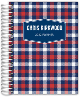 Navy Plaid Daily Planner