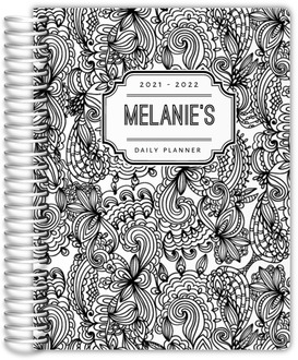 Black and White Floral Pattern Daily Planner