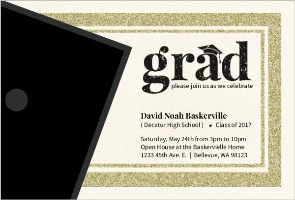Modern Faux Glitter Graduation Invitation Card Graduation