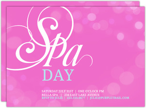 Pink Bubbles Spa Day Invitation