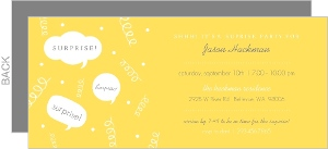 Gray And Orange Speech Bubble Suprise Party Invitation
