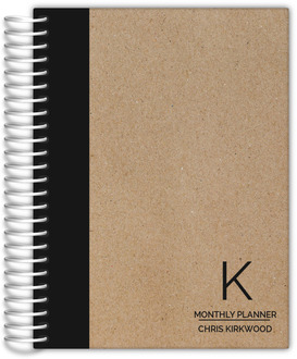 Traditional Black and Kraft Custom Monthly Planner