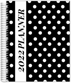 Bold White Polka Dots Daily Planner