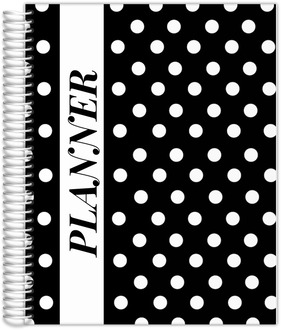 Bold White Polka Dots Custom Monthly  Planner