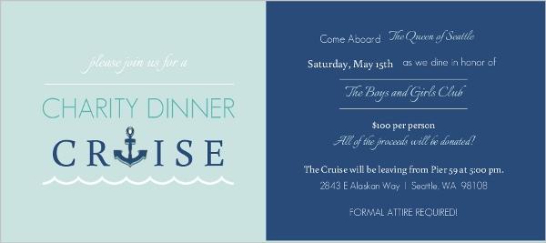 Blue Dinner Cruise Charity Invitation Fundraising