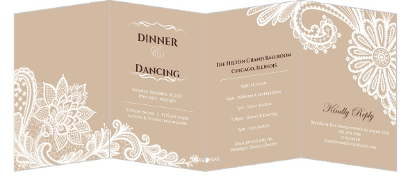 Brown Elegant Lace Charity Fundraiser Invitation  Fundraising