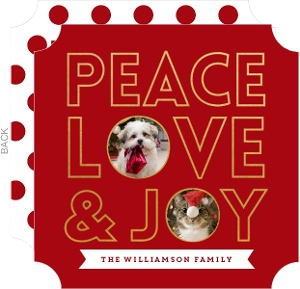 Peace Love and Joy Pet Photo Holiday Card
