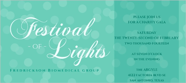 Sparkling Lights Turquoise Charity Fundraiser Invitation
